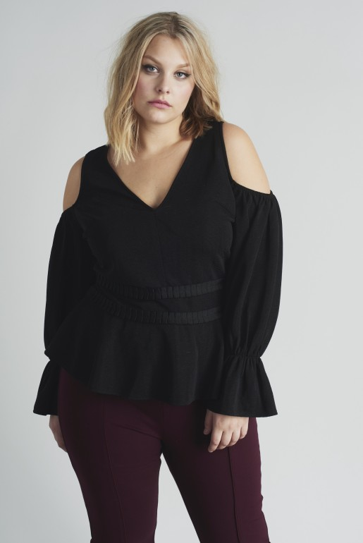 COLD SHOULDER TOP WITH PLEATED WAIST